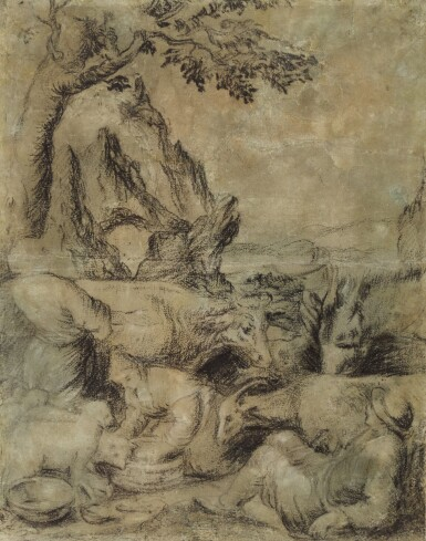 ATTRIBUTED TO LEANDRO DA PONTE CALLED LEANDRO BASSANO | Recto: Herdsmen and shepherds with their animals Verso: Head of a man, and a standing young workman