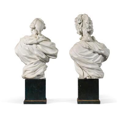 View 2. Thumbnail of Lot 39. A pair of Sèvres Royal portrait busts of Louis XVI and Marie-Antoinette, circa 1786-88.