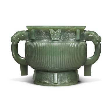 View 1. Thumbnail of Lot 85. An archaistic spinach-green jade gui-form censer, Qing dynasty.