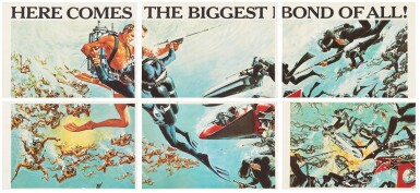 View 2. Thumbnail of Lot 52. THUNDERBALL (1965) US, PARTIAL BILLBOARD POSTER (ACCOMPANIED BY A FRAMED LOBBY CARD SIGNED BY SEAN CONNERY.).