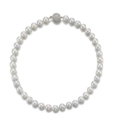 View 3. Thumbnail of Lot 1015. CULTURED PEARL AND DIAMOND NECKLACE.