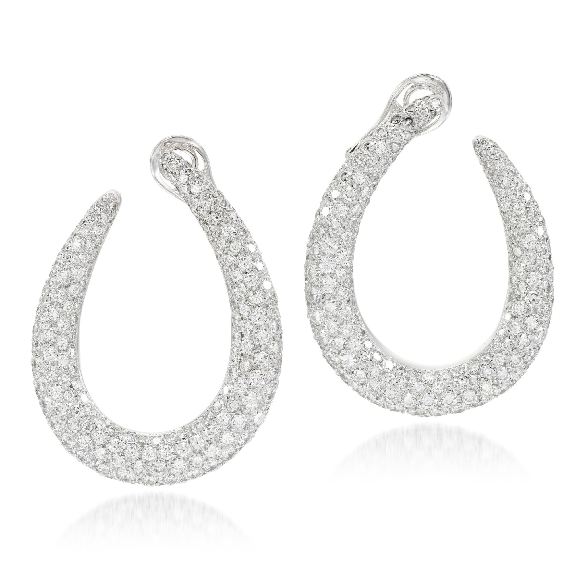 View 1 of Lot 53. Pair of diamond earrings.