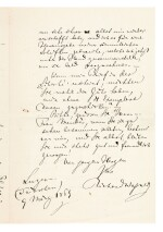R. Wagner. Autograph letter about his pamphlet on Judaism in Music, and his views on German Jews in Paris, 1869