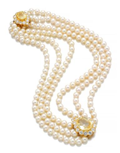 CULTURED PEARL, YELLOW SAPPHIRE AND DIAMOND NECKLACE | VAN CLEEF & ARPELS