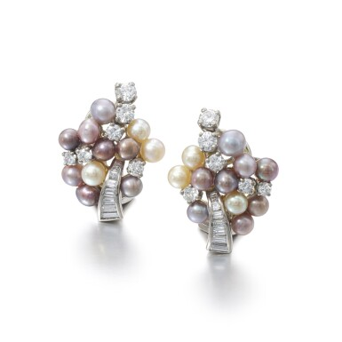 View 1. Thumbnail of Lot 1167. Pair of cultured pearl and diamond ear clips.