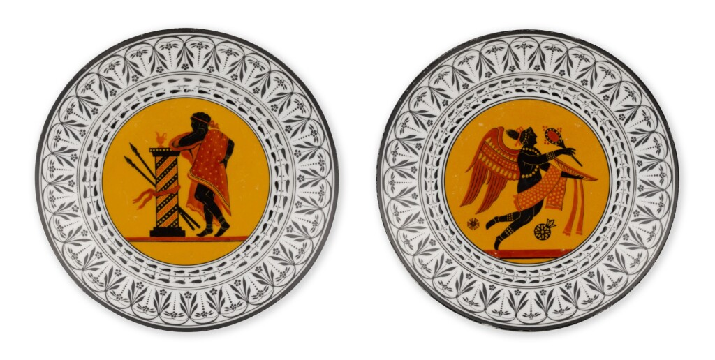 TWO PORCELAIN PLATES FROM THE ETRUSCAN SERVICE, IMPERIAL PORCELAIN FACTORY, ST PETERSBURG, PERIOD OF NICHOLAS I (1825-1855)