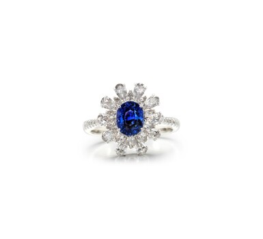 View 1. Thumbnail of Lot 62. SAPPHIRE AND DIAMOND RING.