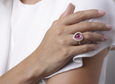 View 6. Thumbnail of Lot 17. Pink tourmaline and diamond ring, Michele della Valle.