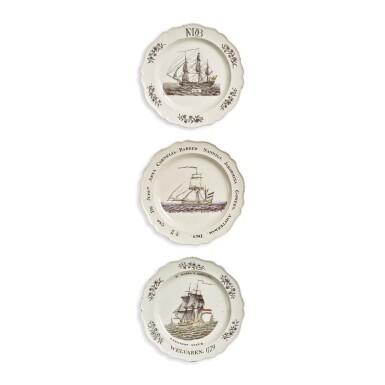 THREE WEDGWOOD CREAMWARE SHIPPING SUBJECT PLATES CIRCA 1780