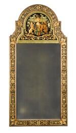 A William III style polychrome and gilt verre eglomisé armorial marginal pier mirror, early 20th century
