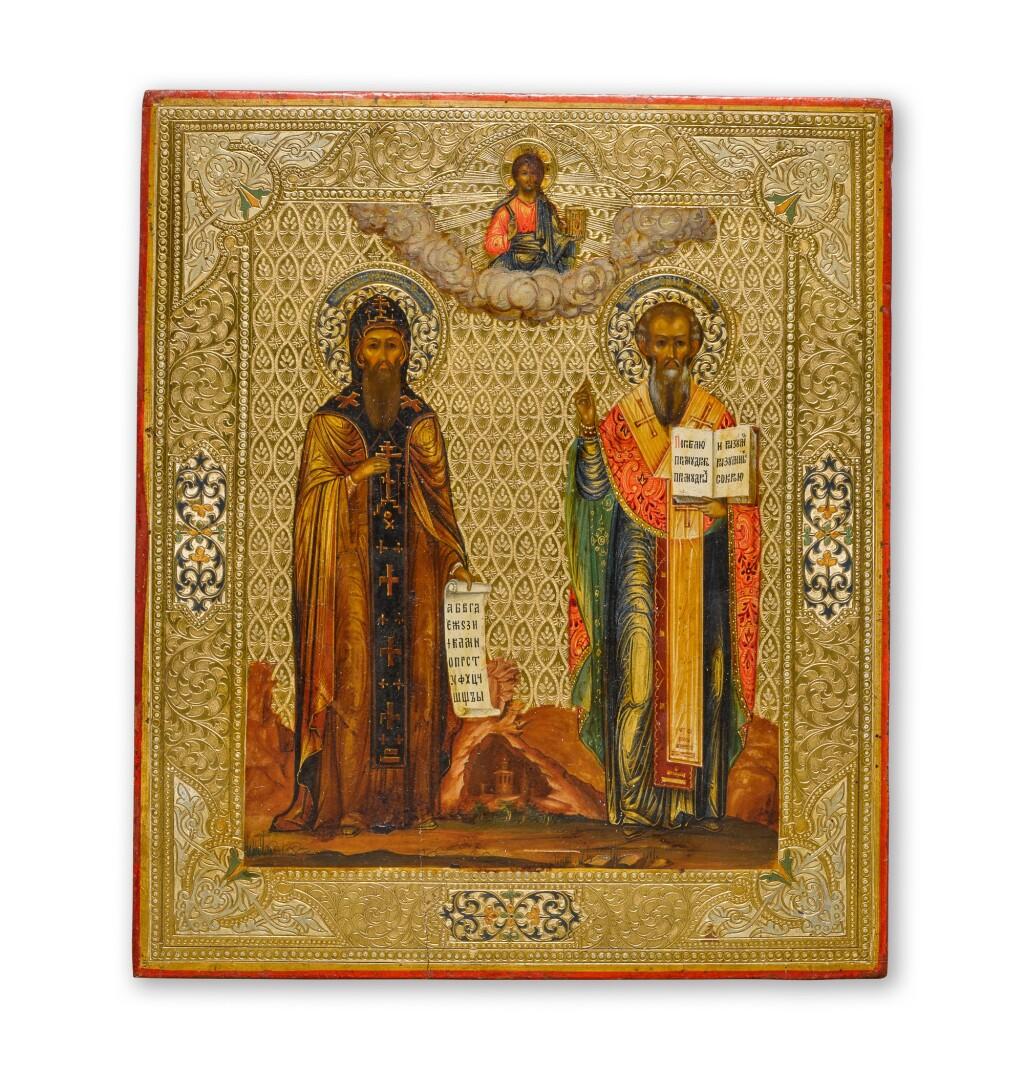 AN ICON OF SAINTS KIRILL AND METHODIUS, RUSSIAN, CIRCA 1900