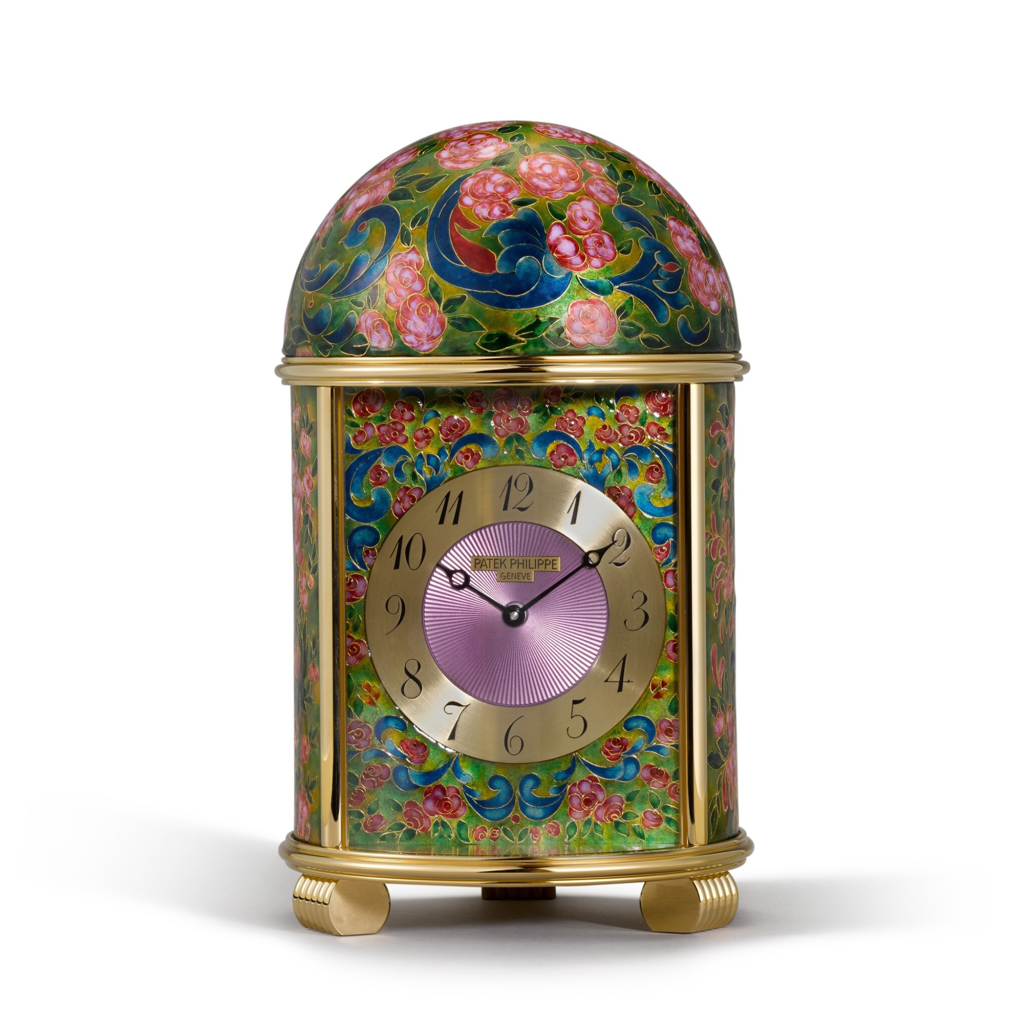 View full screen - View 1 of Lot 1. The Rose Garden, Ref. 1612M A Unique Gilt Metal And Cloisonné Enamel Dome Clock Circa 2011.