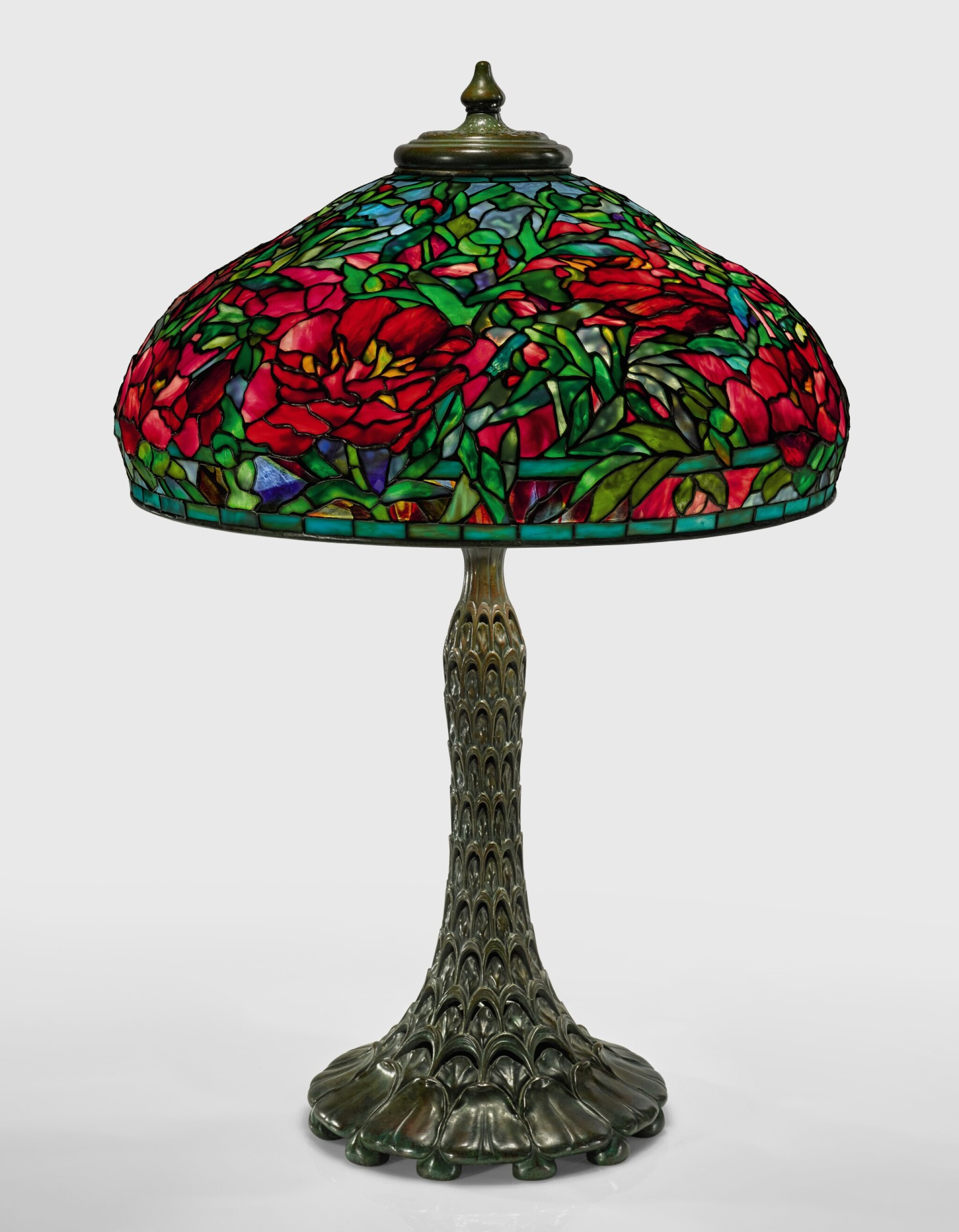 "View full screen - View 1 of Lot 428.  TIFFANY STUDIOS   ""ELABORATE PEONY"" TABLE LAMP."