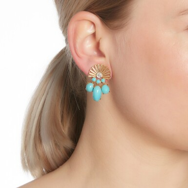 View 4. Thumbnail of Lot 85. Pair of turquoise and diamond ear clips, circa 1945.