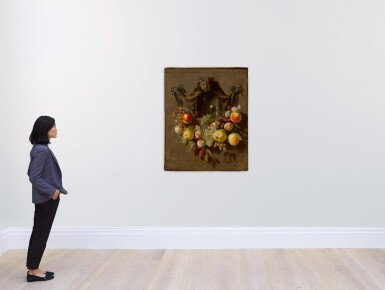 View 3. Thumbnail of Lot 86. Sold Without Reserve   PIETER VAN DEN BOSCH THE YOUNGER   A TROMPE L'OEIL STILL LIFE WITH A SWAG OF GRAPES, PEARS, PEACHES, APPLES, PLUMS, AND BUTTERFLIES DECORATING A NICHE WITH A GLASS ROEMER.
