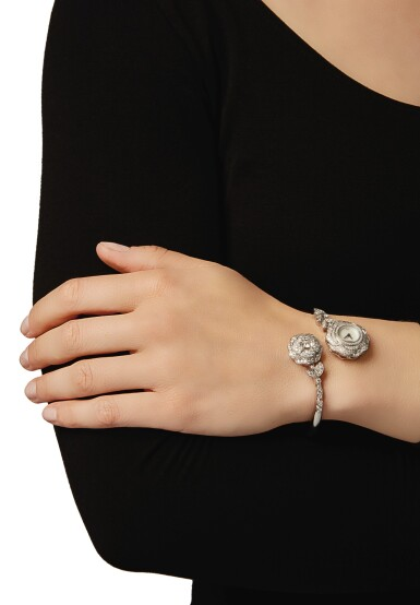 View 4. Thumbnail of Lot 39. DIAMOND AND MOTHER-OF-PEARL 'CAMELLIA' BRACELET-WATCH, CHANEL, FRANCE.