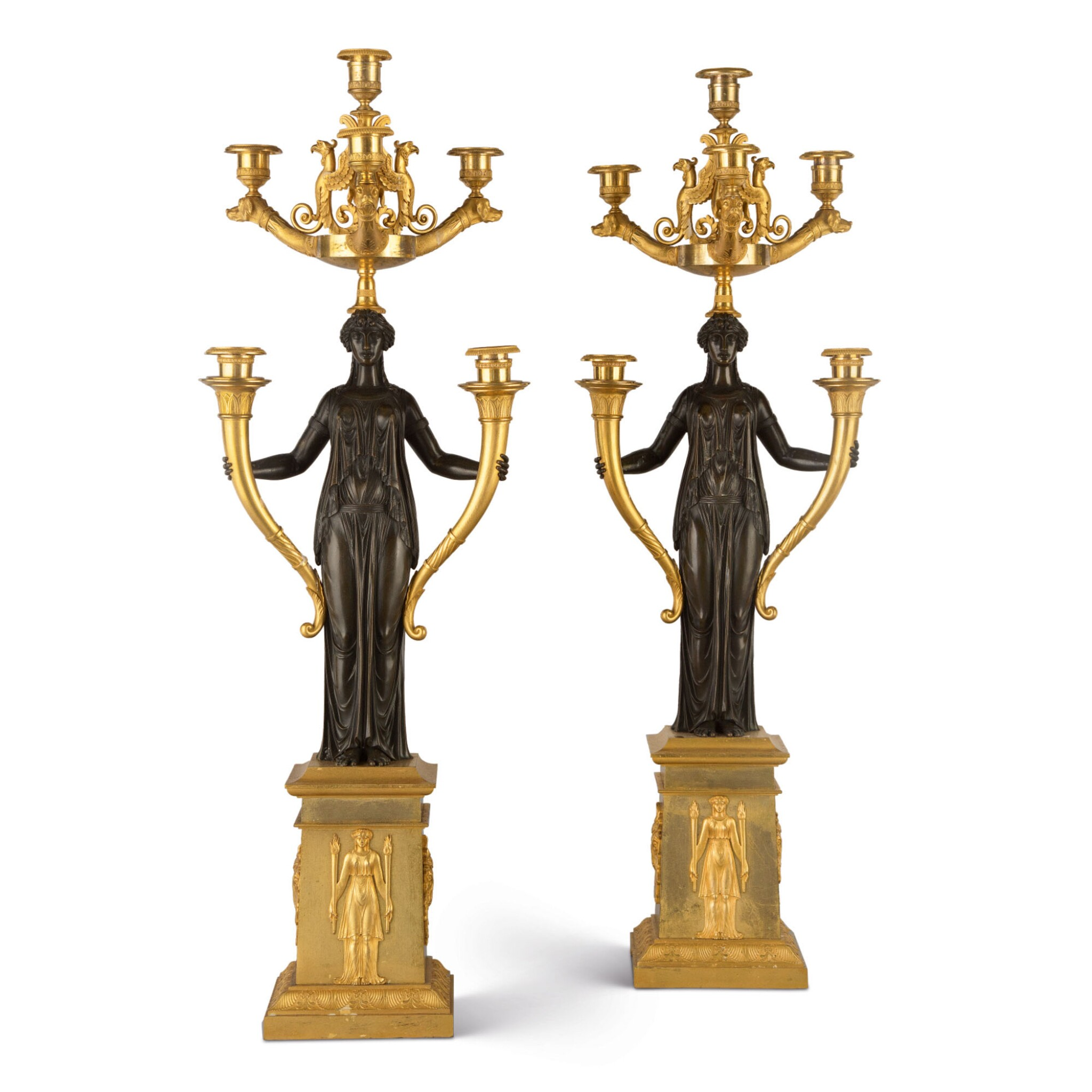 View full screen - View 1 of Lot 835. A PAIR OF EMPIRE STYLE GILT AND PATINATED BRONZE SIX-LIGHT CANDELABRA.