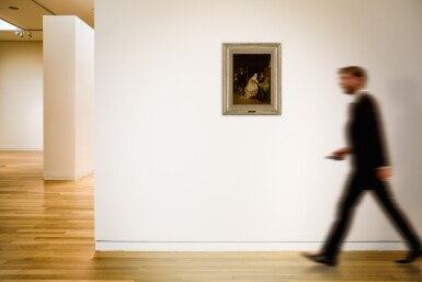 View 5. Thumbnail of Lot 20. A man returning from a hunt, greeted by a lady in an interior.