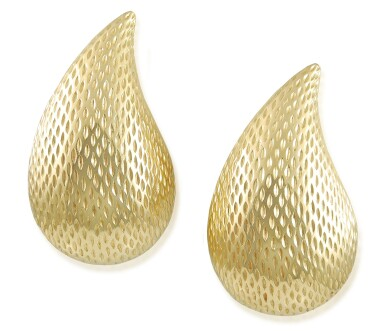 View 2. Thumbnail of Lot 15. TIFFANY & CO.   PAIR OF GOLD EARCLIPS.