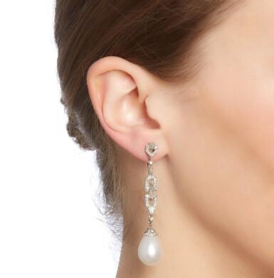 View 4. Thumbnail of Lot 18. Van Cleef & Arpels | Pair of natural pearl and diamond earrings, 1920s.
