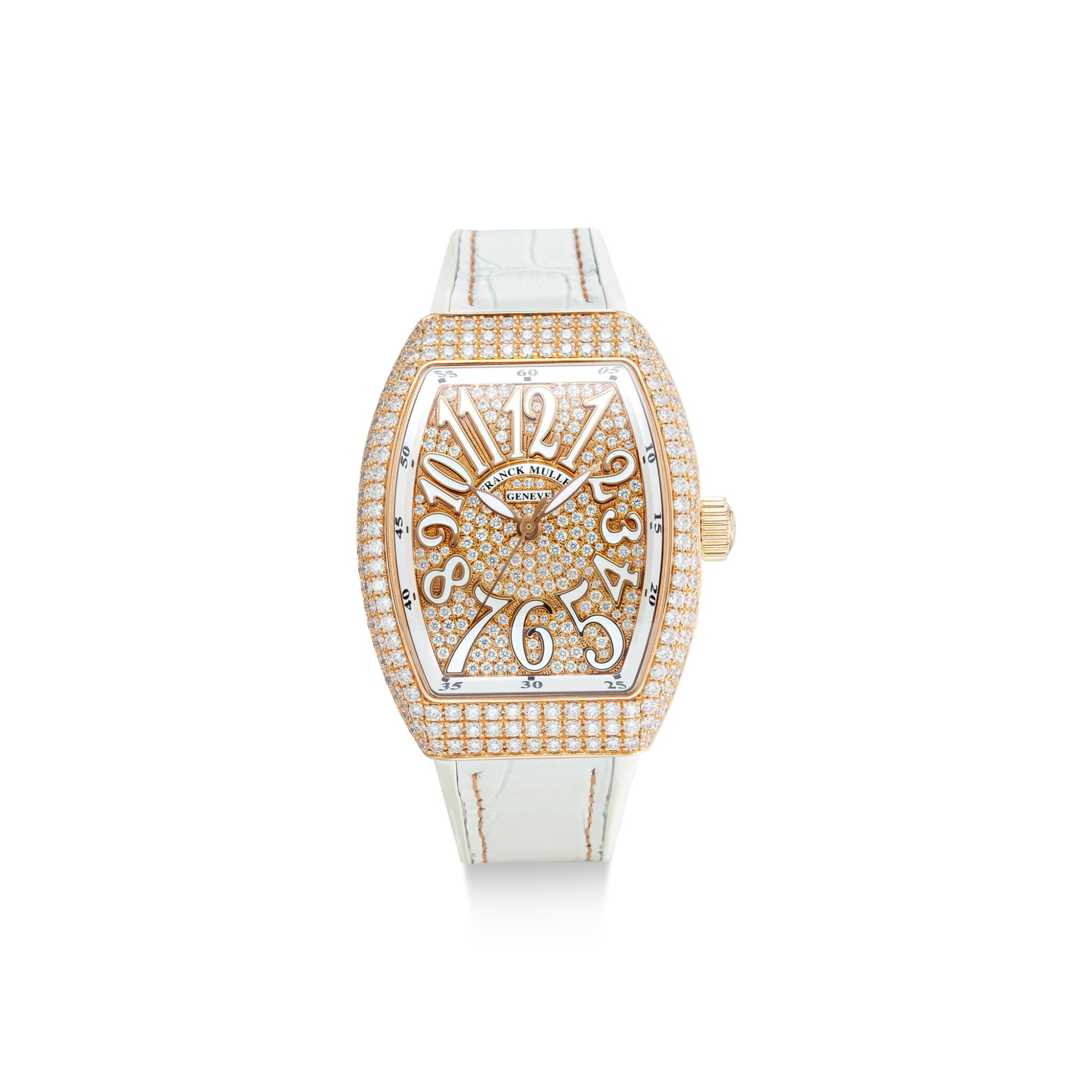View full screen - View 1 of Lot 605. FRANCK MULLER   VANGUARD, REFERENCE V 32 SC AT FO D CD 5N BC   A PINK GOLD AND DIAMOND-SET WRISTWATCH, CIRCA 2018 .