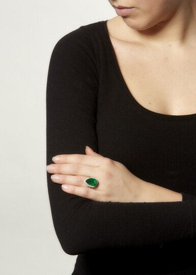 View 4. Thumbnail of Lot 15. EMERALD AND DIAMOND RING.