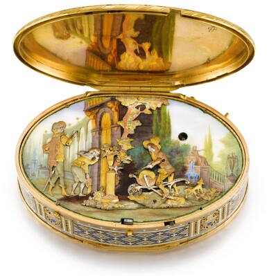 View 2. Thumbnail of Lot 15. A GOLD AND ENAMEL SNUFF BOX WITH MUSIC AND AUTOMATON, GUIDON, RÉMOND, GIDE, GENEVA, 1792-1801.
