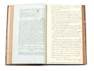 View 2. Thumbnail of Lot 12. Précis des opérations relatives à la navigation intérieure de Bretagne...1785. In-fol. (veau de l'époque).