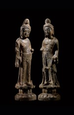 An important and magnificent pair of grey limestone figures of Bodhisattvas, Mahasthamaprapta and Avalokiteshvara,  Early Tang dynasty, era of Empress Wu Zetian | 唐初高宗至武周時期 石灰岩雕大勢至與觀世音菩薩立像一對