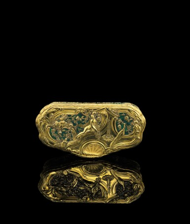View 1. Thumbnail of Lot 5. A gold and enamel snuff box, Frantz Bergs, Stockholm, probably circa 1730.