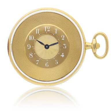 View 1. Thumbnail of Lot 34. CARTIER |  A YELLOW GOLD AND ENAMEL DEMI-HUNTING CASED WATCH, CIRCA 1920.
