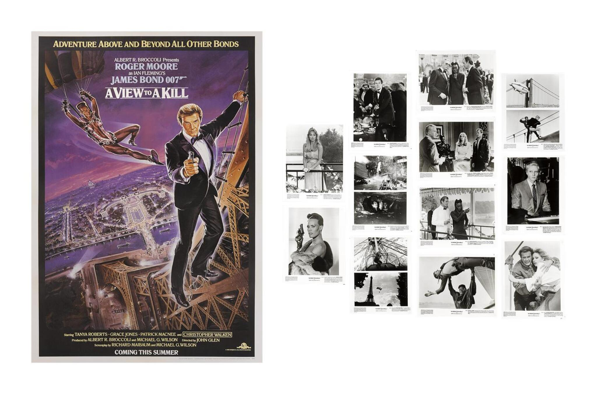 A VIEW TO A KILL (1985) POSTER, BRITISH, ADVANCE (PURPLE STYLE), BRITISH, WITH ORIGINAL PHOTOGRAPHIC PRODUCTION STILLS, US