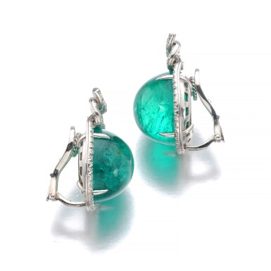 View 2. Thumbnail of Lot 16. VERDURA   PAIR OF EMERALD AND DIAMOND EAR CLIPS.