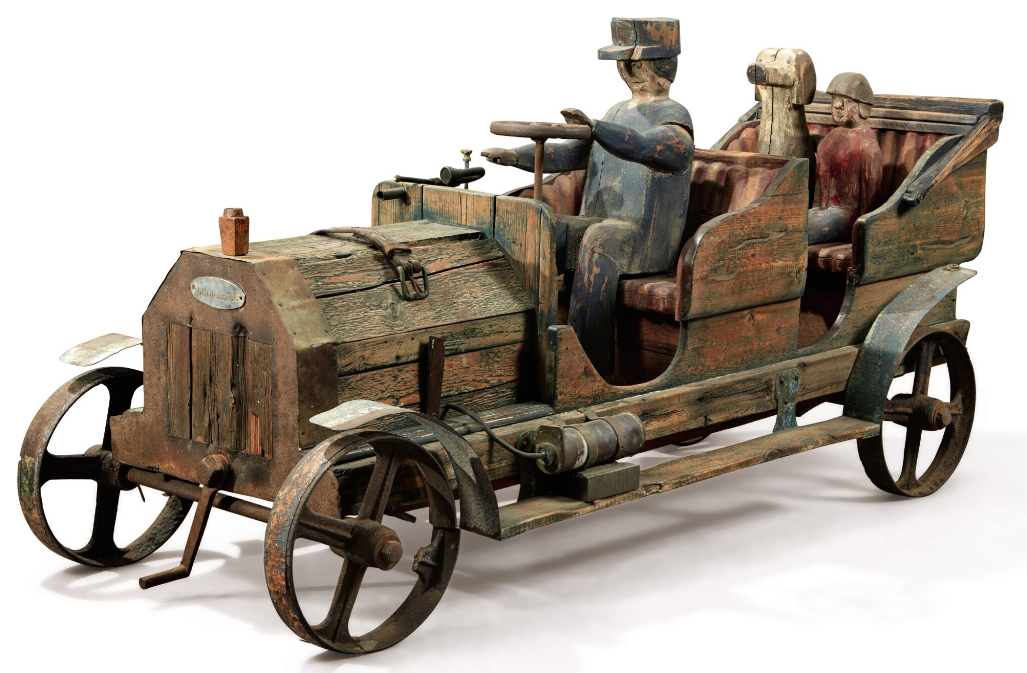 View full screen - View 1 of Lot 1492. VERY RARE LOCOMOBILE AND PASSENGERS SCULPTURE, CIRCA 1925.