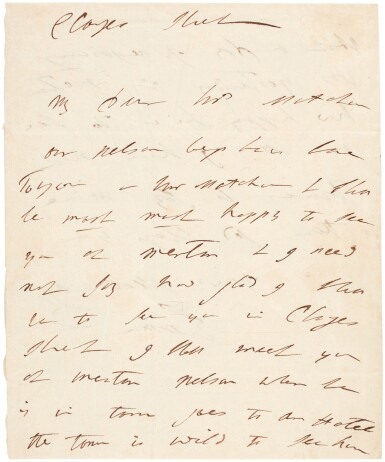 View 3. Thumbnail of Lot 89. Horatio, Viscount Nelson, and Emma Hamilton   two autograph letter signed, to Catherine and George Matcham, 1805.