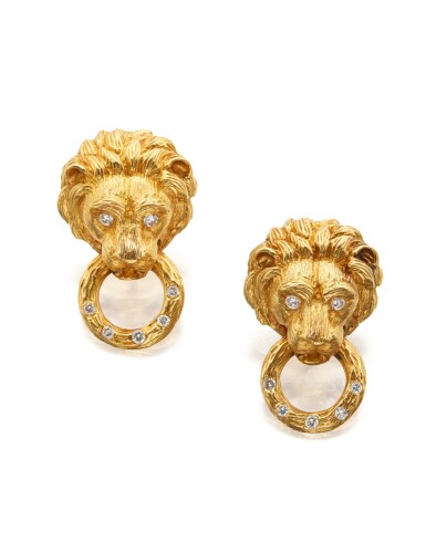 View 1. Thumbnail of Lot 21. PAIR OF GOLD AND DIAMOND EARCLIPS, VAN CLEEF & ARPELS.