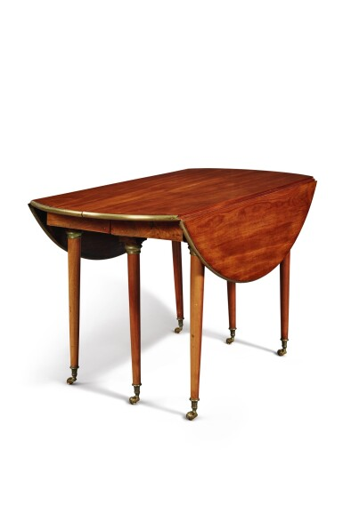 View 2. Thumbnail of Lot 1529. DIRECTOIRE BRASS-MOUNTED MAHOGANY OVAL DINING TABLE WITH LATER LEAVES, EARLY 19TH CENTURY.