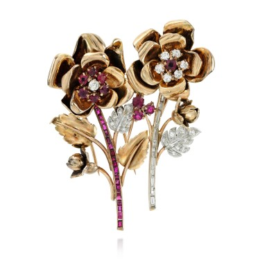 View 1. Thumbnail of Lot 8. PAIR OF RUBY AND DIAMOND CLIP-BROOCHES.