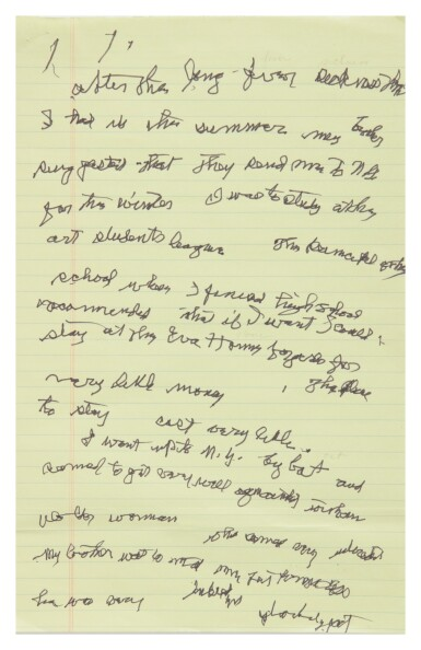 "GEORGIA O'KEEFFE | AUTOGRAPH MANUSCRIPT WITH TRANSCRIPTION, TITLED ""MY FIRST TRIP TO NEW YORK"""