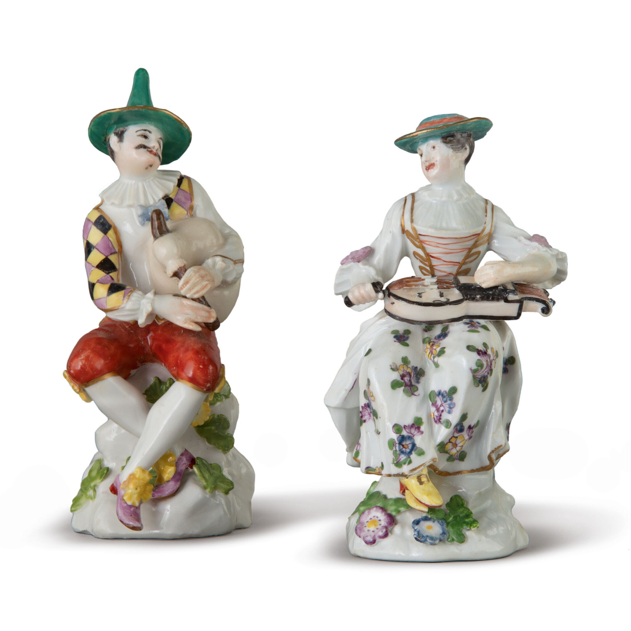 View full screen - View 1 of Lot 564. AN ASSEMBLED PAIR OF MEISSEN FIGURES OF HARLEQUIN AND COLUMBINE, CIRCA 1750.