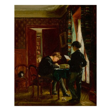 EDMÉ-ALEXIS-ALFRED DEHODENCQ | TWO BROTHERS IN A STUDY, PRESUMED TO THE BE THE CHILDREN OF THE PAINTER
