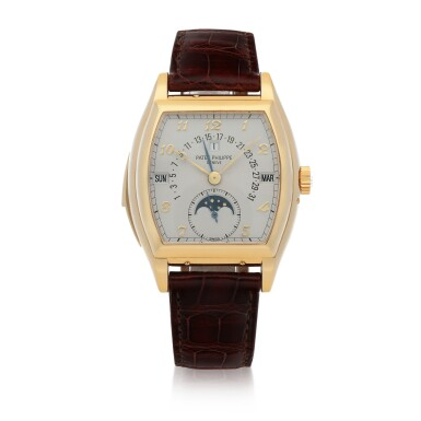 View 1. Thumbnail of Lot 73. Ref. 5013J Yellow gold minute repeating perpetual calendar wristwatch with retrograde date, moon phases and leap-year indication Made in 1993 | 百達翡麗 5013J型號黃金三問萬年曆腕錶備逆跳日期、月相及閏年顯示,1993年製.