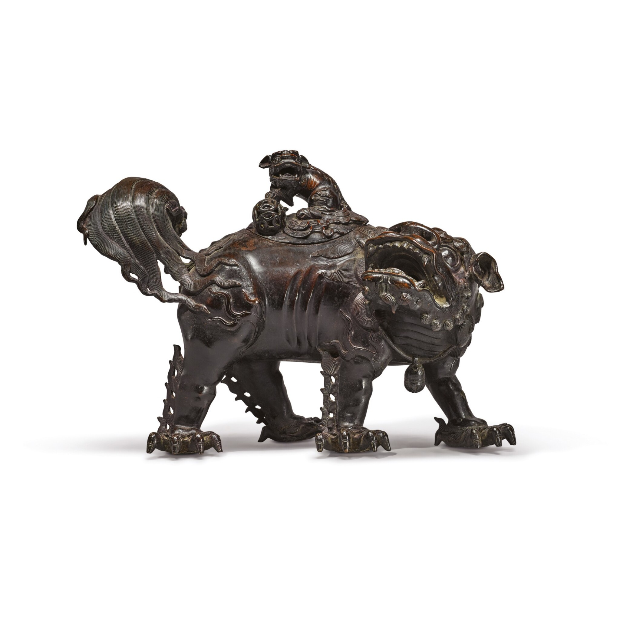 View full screen - View 1 of Lot 647. A LARGE BRONZE 'BUDDHIST LION' CENSER AND COVER, MING DYNASTY, 14TH / 15TH CENTURY.