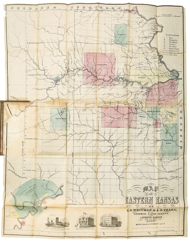 View full screen - View 1 of Lot 124. KANSAS—WHITMAN, E. B., AND A. D. SEARL   Map of Eastern Kansas. Lawrence, Kansas [Boston: J. P. Jewett and Co.], 1856.