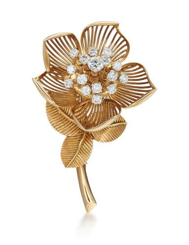 GOLD AND DIAMOND BROOCH, MELLERIO | K金 配 鑽石 別針, Mellerio