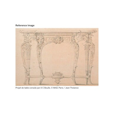 View 8. Thumbnail of Lot 7. A GILT-BRONZE MOUNTED, BRASS-INLAID AND BROWN TORTOISESHELL BOULLE MARQUETRY CONSOLE TABLE, LOUIS XIV, ATTRIBUTED TO ANDRÉ-CHARLES BOULLE AND HIS WORKSHOP, CIRCA 1710-1720 | TABLE À SIX PIEDS EN MARQUETERIE D'ÉCAILLE BRUNE, LAITON GRAVÉS, PLACAGE D'ÉBÈNE ET BRONZE DORÉ D'ÉPOQUE LOUIS XIV, VERS 1710-1720, ATTRIBUÉE À ANDRÉ-CHARLES BOULLE ET SON ATELIER.