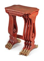 A NEST OF FOUR CHINESE RED AND GILT LACQUERED QUARTETTO TABLES, 20TH CENTURY