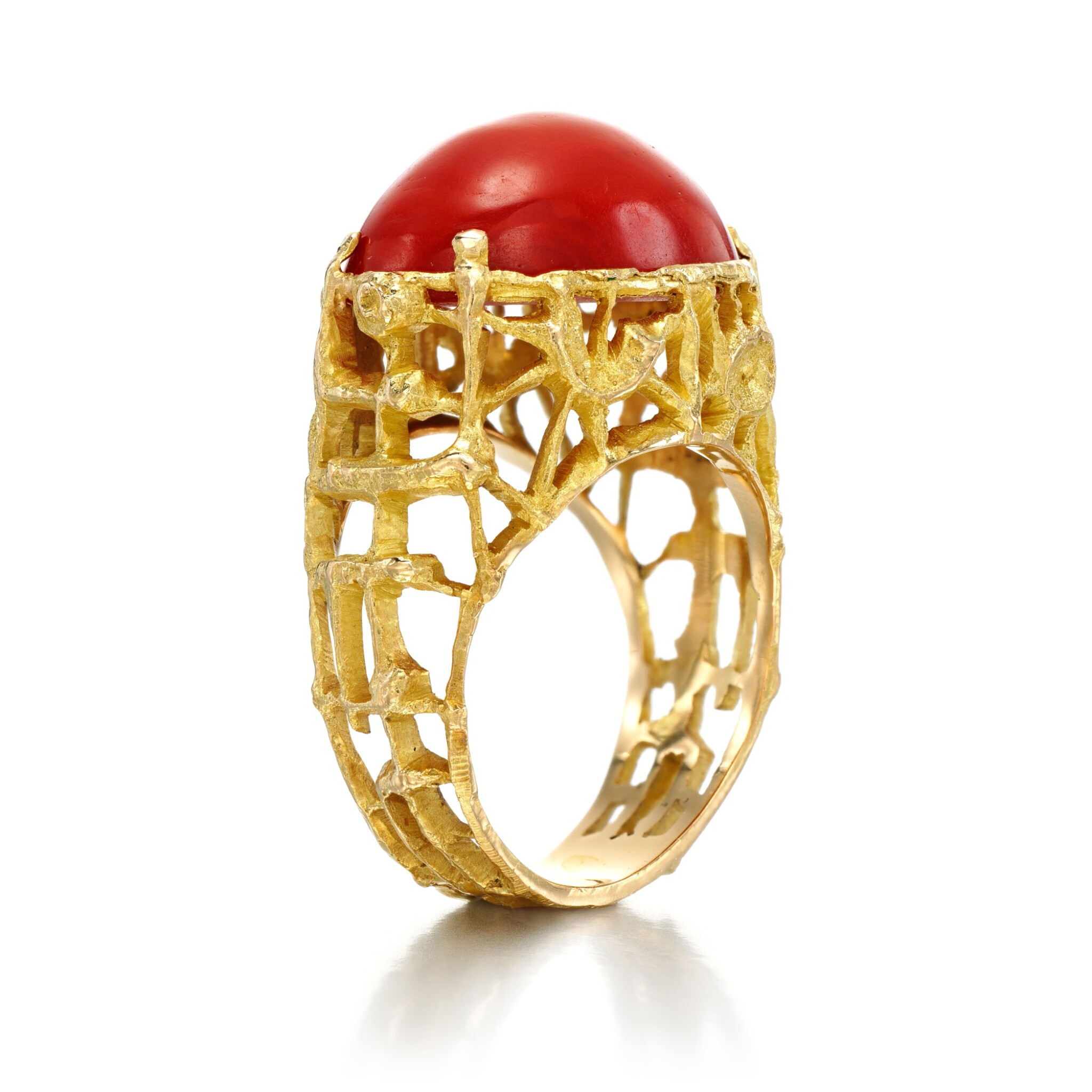View full screen - View 1 of Lot 170. Coral ring.