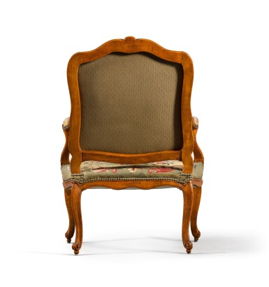 View 4. Thumbnail of Lot 78. A Louis XV suite of carved beechwood seat furniture by Michel Cresson, mid-18th century.