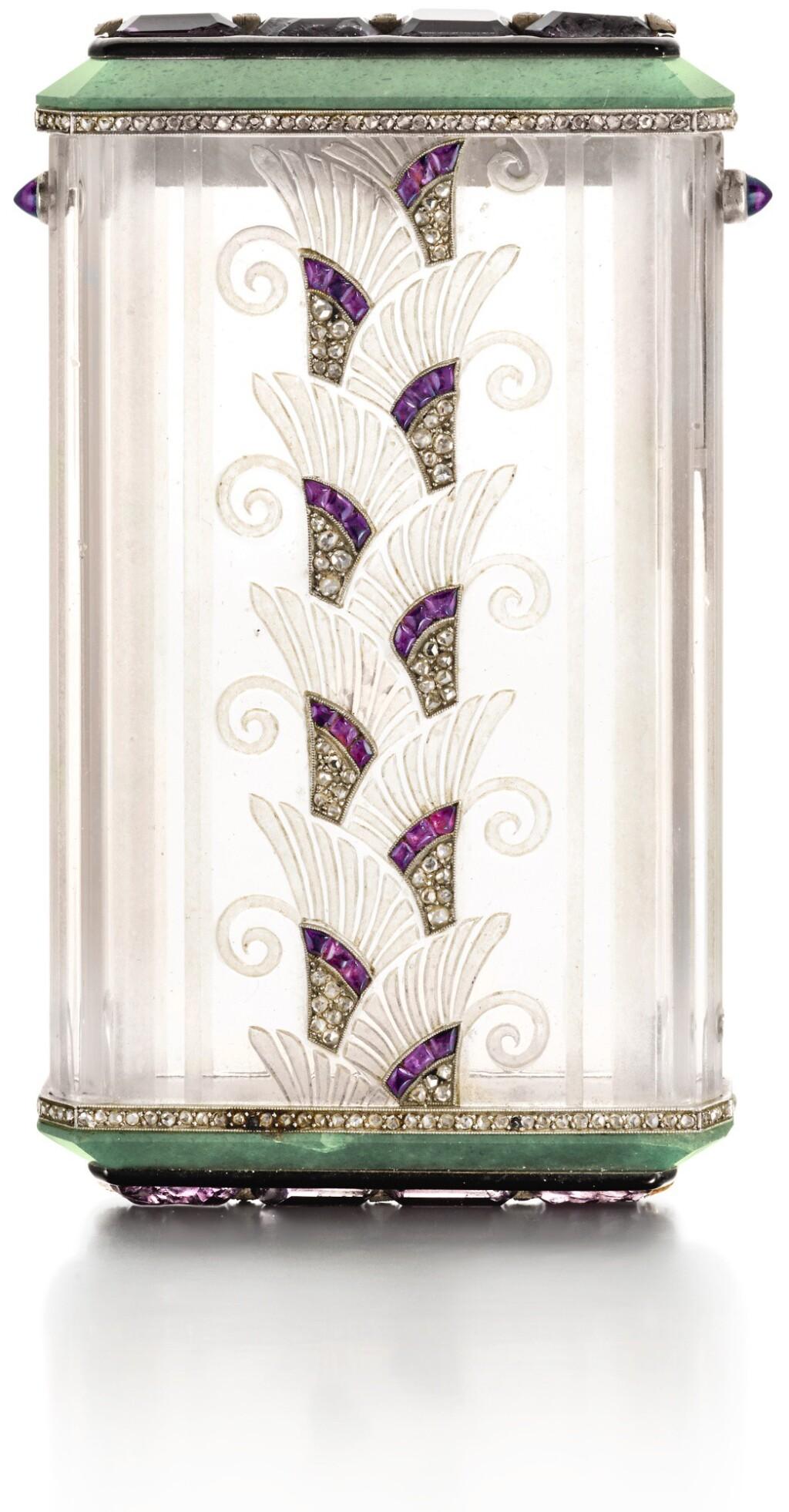 A JEWELLED PLATINUM-MOUNTED HARDSTONE ART DECO CIGARETTE CASE, STRAUSS, ALLARD & MEYER, PARIS, CIRCA 1925